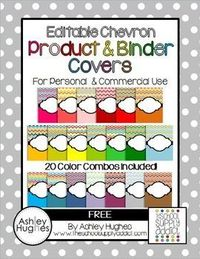 Editable Chevron Binder & Product Covers {Freebie} - create your own binder covers! Love it!