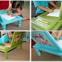 Genius! Buy super cheap cabinet doors and make these cute desks.