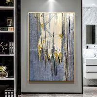 Gold art Abstract Painting Nordic style acrylic paintings on canvas framed Wall art gray texture painting wall pictures $123.75