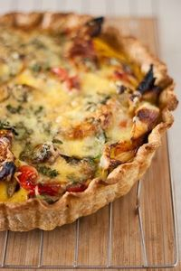 vegetable quiche, roasted vegetables and quiches.