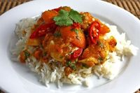 Apricot Chicken Curry. Minus the chicken and add chick peas. Amazing.