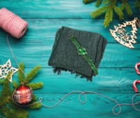 2 Piece Set- Green Scarf with Silver Threads (Size 170x20 Cm) AND STRADA beautiful easy to read stainless steel green watch  Perfect gift to match someones green eyes maybe , green scarf with glitter effect and matching watch makes for great v...