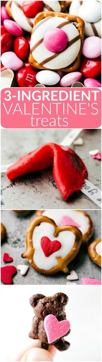 4 simple to make Valentine's Day Treats: heart hugs pretzels, love fortune cookies, mini Valentine bear holding a heart, and white chocolate heart pretzels. Each recipe requires 3 ingredients or less to make! Video tutorial included! Via chelseasmessy...