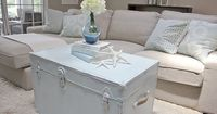 Trunk/coffee table and decor -- love the colors. DIY refinished old chest tutorial --