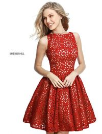 Red Hollow-Out Pattern Pleated Dress For Homecoming by Sherri Hill High Neck S51459