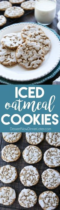 Old fashioned Iced Oatmeal Cookies are crisp on the outside, soft and chewy on the inside, with warm spices, and a light glaze on top. Perfect with a cold glass of milk!