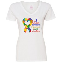I Love Someone Special With Autism Women's V-Neck T-Shirts featuring a puzzle heart ribbon for support, acceptance and understanding.