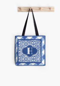 Letter H Monogram in Indigo Patterns