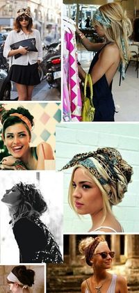 So many ways to wear a hair scarf....