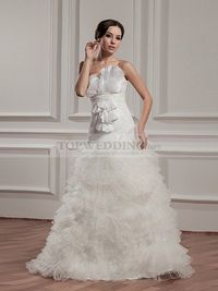 STRAPLESS RUFFLED ORGANZA WEDDING DRESS WITH LACE TOP
