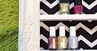 Black and White Chevron Nail Polish and Make up Display on Etsy, $92.00. Make it for less!