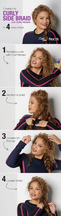 Curly hair is perfect for a messy braid! Watch Andrea's Choice create this simple Curly Side Braid hairstyle using Curl Renew spray to keep her curls hydrated and frizz-free. Because #CurlsCan! repost if you love cute curly hair styles!