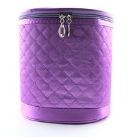 1PCS Cosmetic Makeup Pouch Portable Case Bag with Mirrors Purple Diamond Shape Pattern Bordered