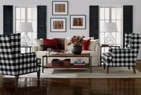 Ethan Allen Vintage Country Living Room. Black and red living rooms. Ethan Allen furniture.