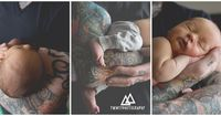 Tattoos and Baby Toes; Austin Newborn Session » Twinty Photography Blog | tattooed dad with newborn | tattoos and newborn babies | baby boy | arm sleeve tattoo | drum newborn theme | baby boy on drumhead | newborn photography | newborn portraits in baske...