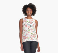 Dragonflies and Pink Magnolia Flowers Tank