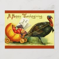 Vintage Thanksgiving Day Turkey Postcard