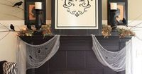 Halloween Mantel with draping cheese cloth from The Yellow Cape Code