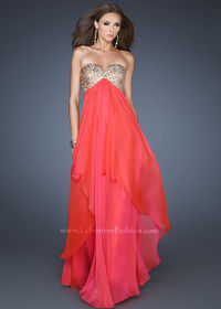 La Femme 18774 Watermelon Strapless Evening Gown
