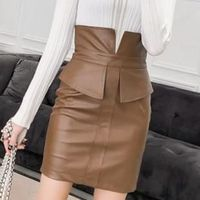 Price: $27.62 | Product: New Women's PU Leather Patchwork Fashion Hip Slit Mini Skirt | Visit our online store https://ladiesgents.ca