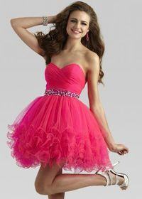 Clarisse 2303 Hot Pink Sweetheart Cocktail Dress