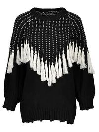 Pullover Sweater With Tassels - BLACK ONE SIZE