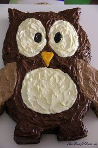 Owl birthday cake - different colors tho - pink, teal, etc