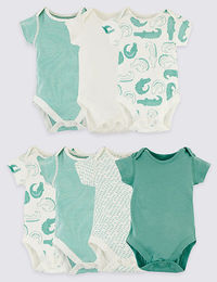 7 Pack Organic Pure Cotton Animal Bodysuits $19.50