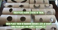 Cut eyes out of toilet paper roll and insert glow stick - hide in bushes for Halloween!!