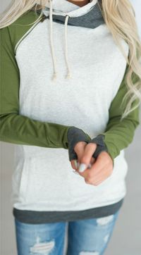 Olive Sleeved DoubleHood - love this sweatshirt. Olive green is my JAM! #mindymaesmarket #dreamcloset