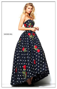 Sherri Hill Polka Dot Floral Printed Formal Gown For Prom 50945