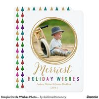 Simple Circle Wishes Photo Holiday Flat Cards