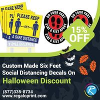 Custom Made Six Feet Social Distancing Decals On 15% Halloween Discount