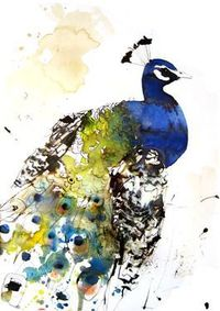 "Saatchi Online Artist Lucy Newton; Mixed Media, ""peacock"""