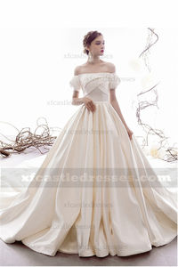 Strapless Satin Ball Gown Wedding Dress with Sleeves TB38