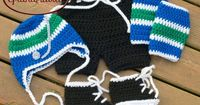 Crocheted BABY BOY HOCKEY Hat, Pants, Socks and Skates Set Vancouver Canucks or any Team Color Preemie/ Newborn/ 0-3 or 3-6 Months