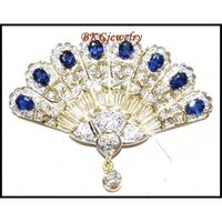 Genuine Blue Sapphire Diamond Brooch/Pin 18K Yellow Gold [I 031]