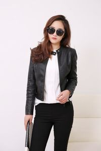 Price: $40.20 | Product: New European Style Fashion O Neck PU Leather Jacket For Women | Visit our online store https://ladiesgents.ca
