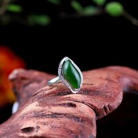 Statement Rings /Green Hetian jade Open ring 925 Silver Ring / Hetian Jade Ring / Boho Rings / Christmas Gift/Gift for Women Ask a question