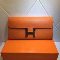 Hermes Constance Wallet 21.5cm Epsom Leather Gold Hardware In Orange