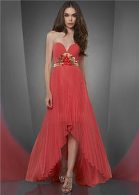 Coral Gold High Low Pleated Prom Dresses