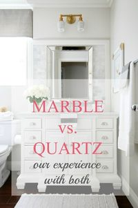 Today I am chatting about marble vs. quartz. The reason I am sharing is because when we took on two bathroom renovations, we wondered the exact same thing. Shou