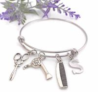 Hairdresser Hair Stylist Charm Bracelet , Beautician Scissor And Blow Dryer Charm Bangle Gift for Beauty Student Graduation, Personalized $18.95
