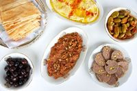 typical mezze spread
