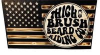 THIGHBRUSH® Flag Plaque - Burnt Lacquered Pine - BRC Logo