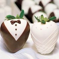 Groom & Bride Strawberries. So cute!