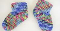Free Baby Booties Socks Crochet Pattern by Knot By Gran'ma, via Flickr