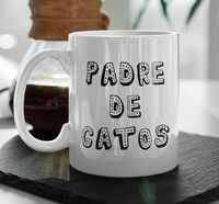 Taza de ceramica - padre de gatos mug in spanish - father of cats - regalo $19.95