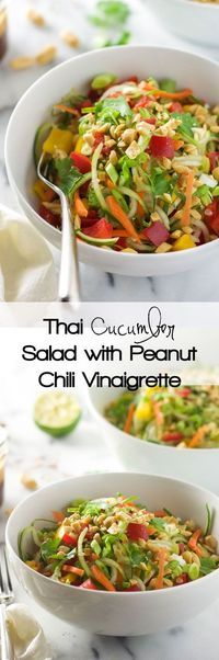 Thai Cucumber Salad with Peanut Chili Vinaigrette is a light and flavorful salad with a sweet and spicy dressing and loaded with vegetables!