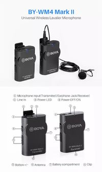 Boya BY-WM4 Mark II Wireless Microphone System Lavalier Lapel Mic Transmitter Receiver for Canon Nikon Sony DSLR Camcorder
